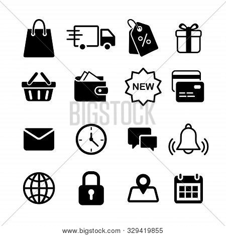 Online Shopping And E-commerce Icon Set. Simple Flat Black 16 Vector Icons Collection For E-shop Buy