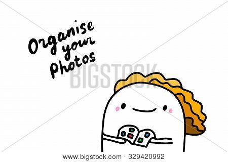 Organise Your Photos Hand Drawn Vector Illustration In Cartoon Comic Style With Cute Man
