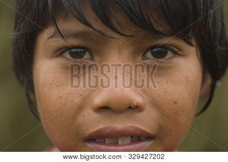 Sao Miguel Das Missoes, Rio Grande Do Sul, Brazil - November 03, 2015: A Close Portrait Of Indigenou