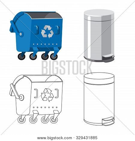 Vector Illustration Of Refuse And Junk Logo. Set Of Refuse And Waste Stock Symbol For Web.