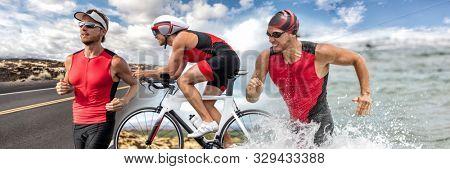 Triathlon swim bike run triathlete man running biking swimming in ocean at ironman race banner panorama. Three pictures composite of fitness athlete professional cyclist, runner, swimmer athletes.