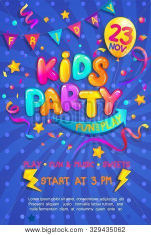 Kids Party Vertical Banner With Confetti, Serpentine Sparkles For Greetings, Invitations For Parties