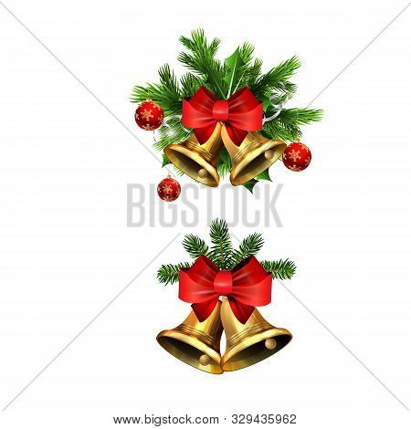 Vector Christmas Bells Set With Christmas Tree Decorations. Jingle Bells. Golden Bells With Ribbon