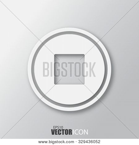 Stop Icon In White Style With Shadow Isolated On Grey Background.