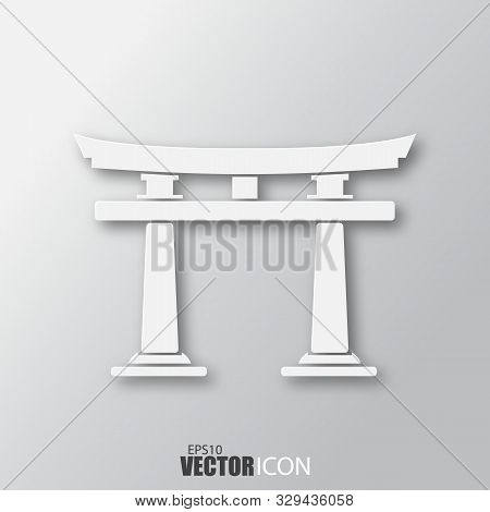 Torii Gate Icon In White Style With Shadow Isolated On Grey Background.
