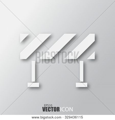 Barrier Icon In White Style With Shadow Isolated On Grey Background.
