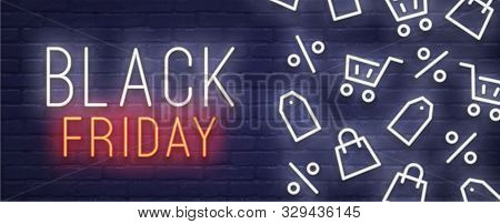 Black Friday Lettering Sign And Logo. Black Friday Sale Banner. Black Friday Background. Neon Sign