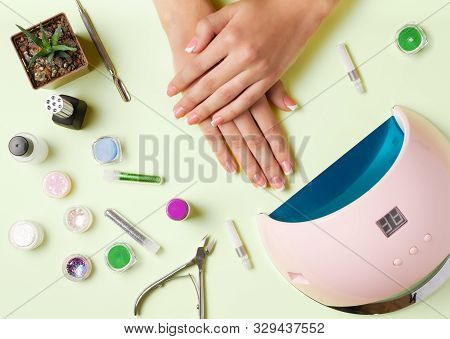 Composition For Nail Care, Female Young Hands, French Manicure, Gel Polish, Lamp For Nails And Equip
