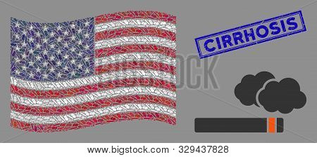 Cigarette Smoke Items Are Organized Into Usa Flag Collage With Blue Rectangle Rubber Stamp Seal Of C