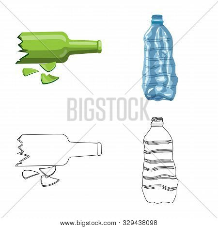 Vector Design Of Refuse And Junk Sign. Collection Of Refuse And Waste Vector Icon For Stock.