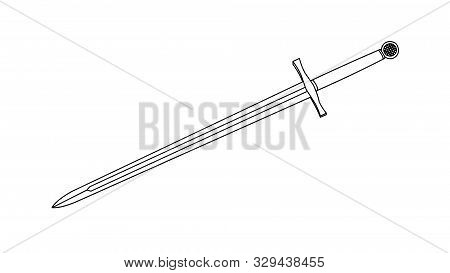 Illustration King Arthur Sword Excalibur Drawing Vector