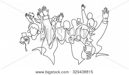 Cheerful Crowd Cheering Illustration. Hands Up. Group Of Applause People Continuous One Line Vector