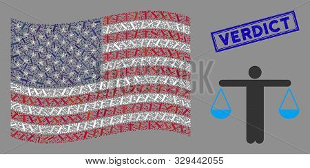 Weight Comparing Person Pictograms Are Grouped Into United States Flag Collage With Blue Rectangle G