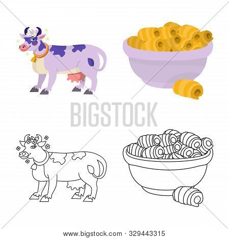 Isolated Object Of Creamy And Product Icon. Collection Of Creamy And Farm Vector Icon For Stock.