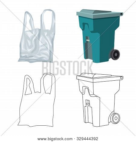 Isolated Object Of Refuse And Junk Logo. Collection Of Refuse And Waste Vector Icon For Stock.