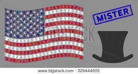 Gentleman Hat Items Are Grouped Into Usa Flag Collage With Blue Rectangle Distressed Stamp Seal Of M