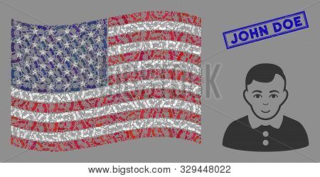 Boy Items Are Grouped Into Usa Flag Mosaic With Blue Rectangle Grunge Stamp Watermark Of John Doe Te