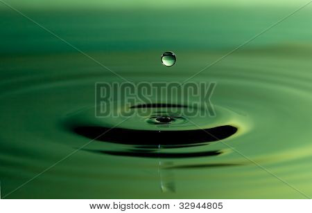 Green Drop in Water