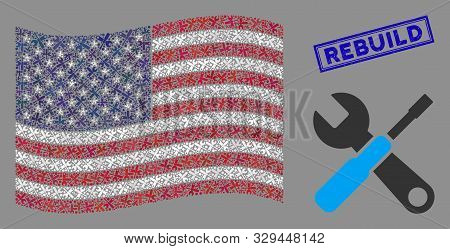 Tools Pictograms Are Arranged Into Usa Flag Abstraction With Blue Rectangle Grunge Stamp Seal Of Reb