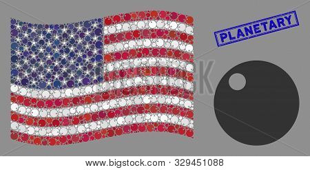 Sphere Symbols Are Organized Into Usa Flag Collage With Blue Rectangle Grunge Stamp Seal Of Planetar