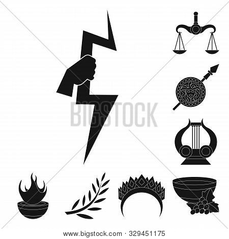 Vector Design Of Religion And Myths Logo. Collection Of Religion And Greek Stock Symbol For Web.