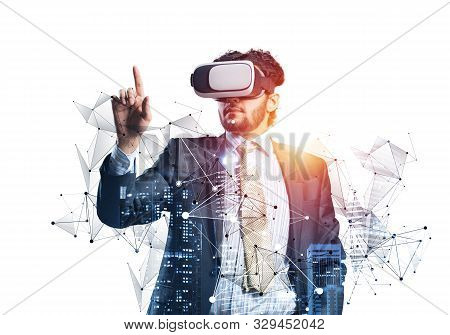 Businessman Wearing Vr Headset Working With Virtual System. New Reality Modeling And Design. Interac