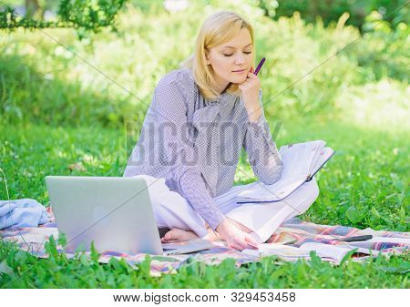 Woman With Laptop Sit Grass Meadow. Business Lady Freelance Work Outdoors. Freelance Career Concept.