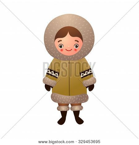Eskimo Girl In Traditional Ethnic Winter Clothes. Vector Illustration In Flat Cartoon Style.