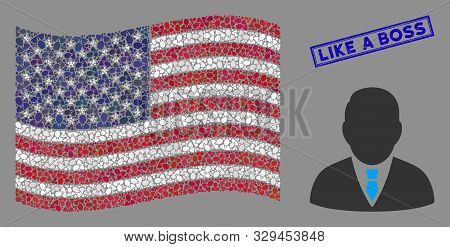 Boss Items Are Organized Into American Flag Collage With Blue Rectangle Rubber Stamp Watermark Of Li
