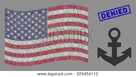 Anchor Items Are Combined Into American Flag Abstraction With Blue Rectangle Rubber Stamp Watermark