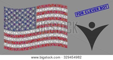Futuristic Man Items Are Arranged Into American Flag Abstraction With Blue Rectangle Rubber Stamp Wa