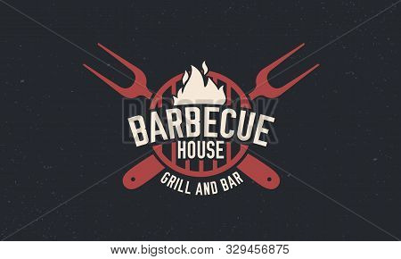 Trendy Barbecue Bbq Grill Logo Template. Vintage Barbecue Logo With Grill Fork. Retro Poster For Ste