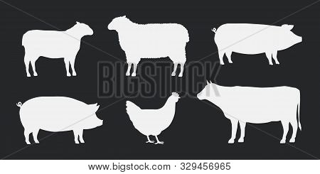 Farm Animals Silhouettes Icons Set. Lamb, Sheep, Pig, Hen And Cow. Vector Illustration