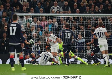 LONDON, ENGLAND - OCTOBER 22 2019: Tottenham's Erik Lamela scores a goal during the UEFA Champions League match between Tottenham Hotspur and Red Star Belgrade, at Tottenham Hotspur Stadium