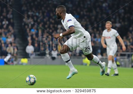 LONDON, ENGLAND - OCTOBER 22 2019: Tottenham's Tanguy NDombele during the UEFA Champions League match between Tottenham Hotspur and Red Star Belgrade, at Tottenham Hotspur Stadium, London England.