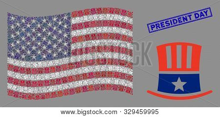 Uncle Sam Hat Icons Are Combined Into Usa Flag Abstraction With Blue Rectangle Rubber Stamp Seal Of