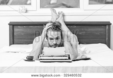 Erotic Literature. Daily Routine Of Writer. Man Writer Lay Bed With Breakfast Working. Writer Handso