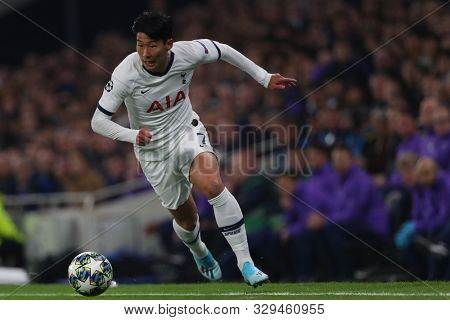 LONDON, ENGLAND - OCTOBER 22 2019: Tottenham's Son Heung-Min during the UEFA Champions League match between Tottenham Hotspur and Red Star Belgrade, at Tottenham Hotspur Stadium, London England.
