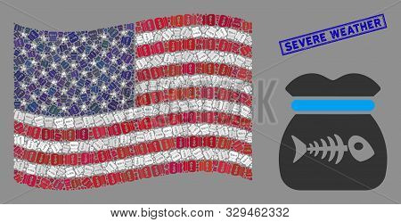 Toxic Rubbish Pictograms Are Grouped Into American Flag Collage With Blue Rectangle Corroded Stamp W