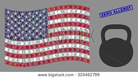 Weight Icons Are Combined Into United States Flag Collage With Blue Rectangle Rubber Stamp Watermark