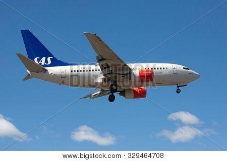 STOCKHOLM - JULY 3, 2008: Aeroplane (SAS) takes off at Arlanda airport