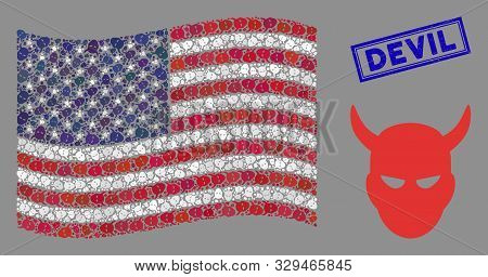 Daemon Head Items Are Combined Into American Flag Stylization With Blue Rectangle Distressed Stamp W