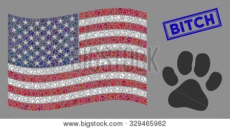 Paw Footprint Items Are Arranged Into American Flag Collage With Blue Rectangle Rubber Stamp Seal Of