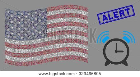 Buzzer Symbols Are Arranged Into Usa Flag Mosaic With Blue Rectangle Grunge Stamp Seal Of Alert Capt
