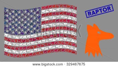 Fox Head Items Are Arranged Into Usa Flag Stylization With Blue Rectangle Rubber Stamp Seal Of Rapto