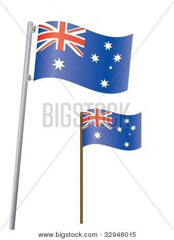 Flag Of Australia On Flagstaff