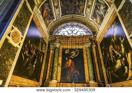 Rome, Italy - March 24, 2019 Chapel Paintings Saints Saint Louis Of French Basilica Church Rome Ital