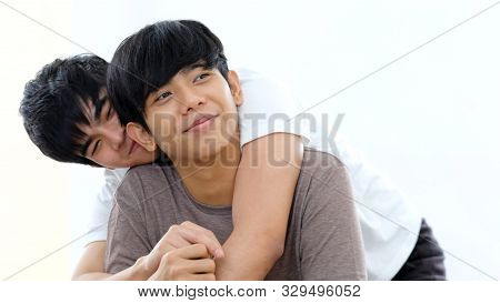 Close Up Of Young Asian Gay Man Couple In Happy Moment, Happy Asia Homosexual Boy, People Diversity