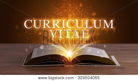 CURRICULUM VITAE inscription coming out from an open book, educational concept