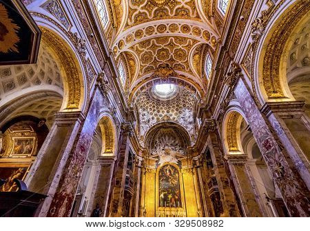 Rome, Italy - March 24, 2019  Tall Arches Nave Saint Louis Of French Basilica Church Rome Italy.  Ch